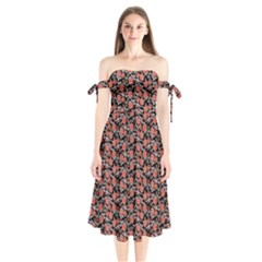 Roses pattern Shoulder Tie Bardot Midi Dress