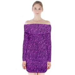 Sparkling Metal Art F Long Sleeve Off Shoulder Dress