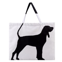 Black And Tan Coonhound Silo Black Zipper Large Tote Bag