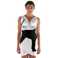 Black And Tan Coonhound Silo Black Wrap Front Bodycon Dress