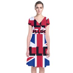 Bulldog England United Kingdom Name Flag Short Sleeve Front Wrap Dress