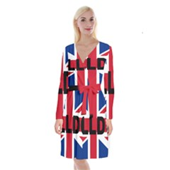 Bulldog England United Kingdom Name Flag Long Sleeve Velvet Front Wrap Dress