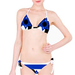 Cannan Dog Silhouette Flag Of Israel Bikini Set