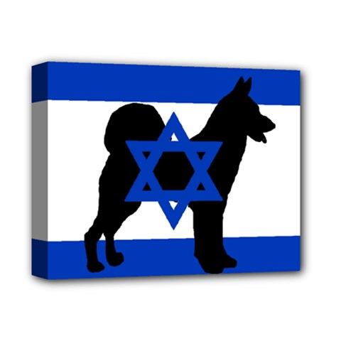 Cannan Dog Silhouette Flag Of Israel Deluxe Canvas 14  x 11
