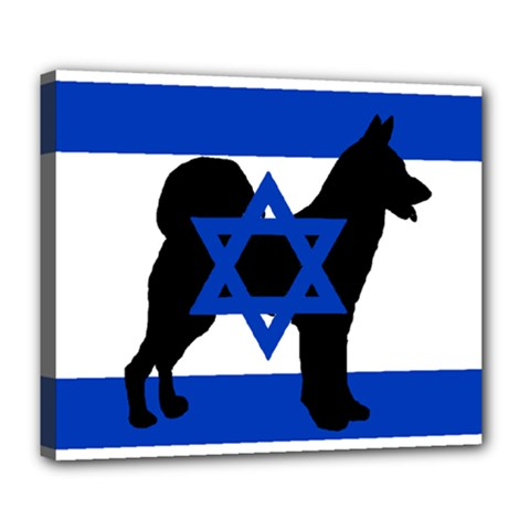 Cannan Dog Silhouette Flag Of Israel Deluxe Canvas 24  x 20