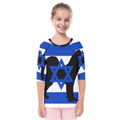 Cannan Dog Silhouette Flag Of Israel Kids  Quarter Sleeve Raglan Tee