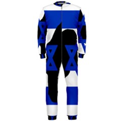 Cannan Dog Silhouette Flag Of Israel OnePiece Jumpsuit (Men)