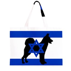 Cannan Dog Silhouette Flag Of Israel Large Tote Bag