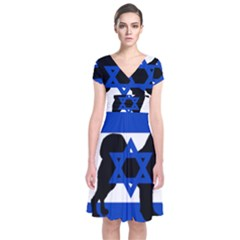 Cannan Dog Silhouette Flag Of Israel Short Sleeve Front Wrap Dress