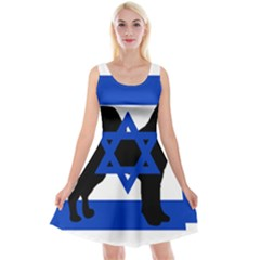 Cannan Dog Silhouette Flag Of Israel Reversible Velvet Sleeveless Dress