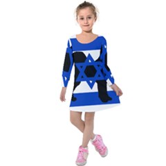 Cannan Dog Silhouette Flag Of Israel Kids  Long Sleeve Velvet Dress