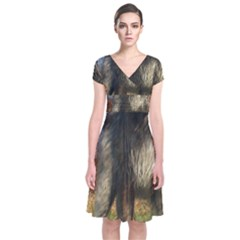 Irish Wolfhound full Short Sleeve Front Wrap Dress