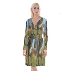 Irish Wolfhound full Long Sleeve Velvet Front Wrap Dress