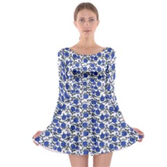 Roses pattern Long Sleeve Skater Dress