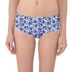 Roses pattern Mid-Waist Bikini Bottoms