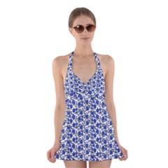 Roses pattern Halter Swimsuit Dress
