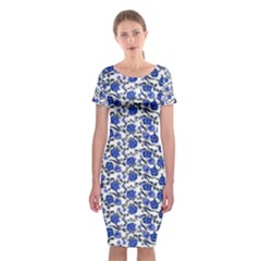 Roses pattern Classic Short Sleeve Midi Dress