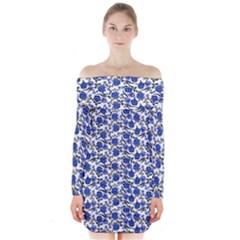 Roses pattern Long Sleeve Off Shoulder Dress