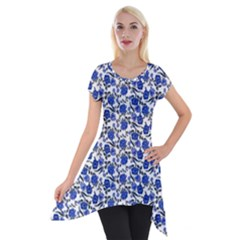 Roses pattern Short Sleeve Side Drop Tunic