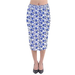 Roses pattern Velvet Midi Pencil Skirt
