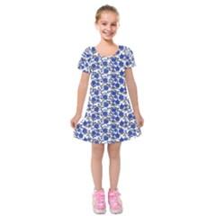 Roses pattern Kids  Short Sleeve Velvet Dress