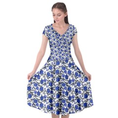 Roses pattern Cap Sleeve Wrap Front Dress