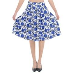 Roses pattern Flared Midi Skirt