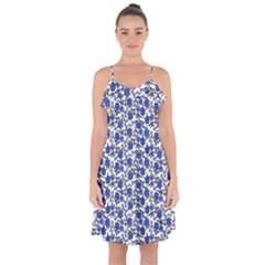 Roses pattern Ruffle Detail Chiffon Dress