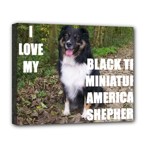 Mini Australian Shepherd Black Tri Love W Pic Deluxe Canvas 20  x 16