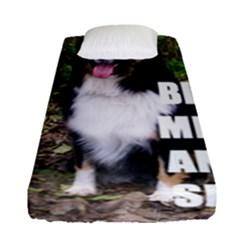 Mini Australian Shepherd Black Tri Love W Pic Fitted Sheet (Single Size)