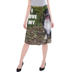 Mini Australian Shepherd Black Tri Love W Pic Midi Beach Skirt