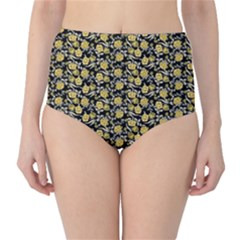 Roses pattern High-Waist Bikini Bottoms