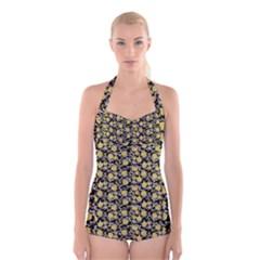 Roses pattern Boyleg Halter Swimsuit