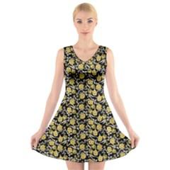 Roses pattern V-Neck Sleeveless Skater Dress