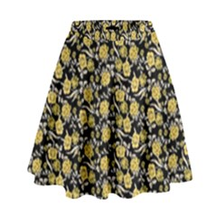 Roses pattern High Waist Skirt