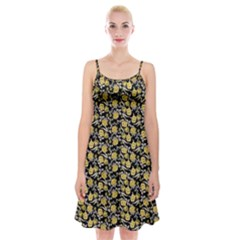Roses pattern Spaghetti Strap Velvet Dress