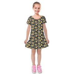 Roses pattern Kids  Short Sleeve Velvet Dress