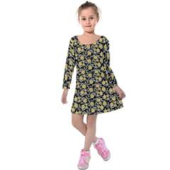 Roses pattern Kids  Long Sleeve Velvet Dress