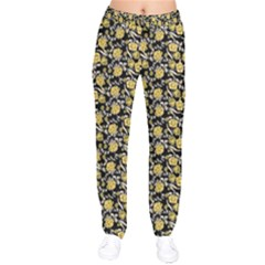 Roses pattern Drawstring Pants