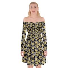 Roses pattern Off Shoulder Skater Dress