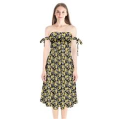 Roses pattern Shoulder Tie Bardot Midi Dress