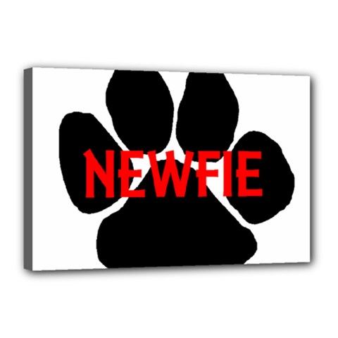 Newfie Name Paw Canvas 18  x 12