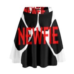 Newfie Name Paw High Waist Skirt