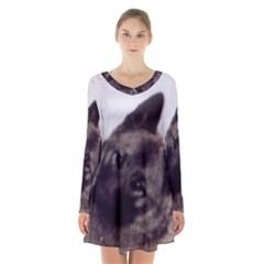 Norwegian Elkhound Long Sleeve Velvet V-neck Dress