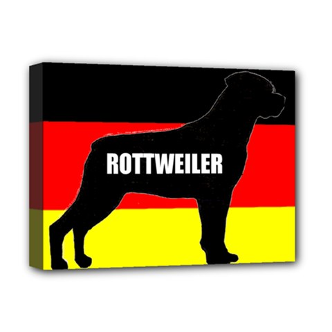 Rottweiler Name Silo On Flag Deluxe Canvas 16  x 12