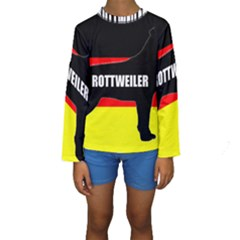 Rottweiler Name Silo On Flag Kids  Long Sleeve Swimwear