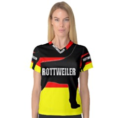 Rottweiler Name Silo On Flag Women s V-Neck Sport Mesh Tee