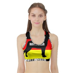 Rottweiler Name Silo On Flag Sports Bra with Border