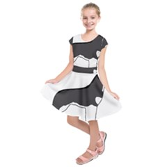 Siberian Husky Silo Color Kids  Short Sleeve Dress