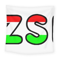 Hungary Flag In Vizsla Name Square Tapestry (Large)